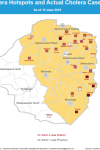 An Overlay of Cholera Hotspots and Actual Cholera Cases Reported in 2019, in Zimbabwe